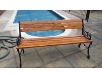 RECENTLY REFURBISHED SMALL GARDEN BENCH WITH CAST IRON ENDS