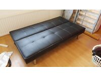 Faux Black Leather Sofa Bed With Chrome Legs