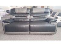 Ex-Display ScS Venus Black/Grey 3 Seater Manual Recliner Sofa **CAN DELIVER**