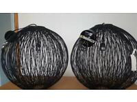 Large Black Wicker Pendant Lights