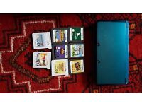 Blue DS with games and carry case