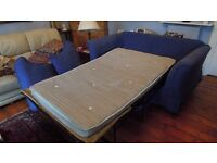 blue double bed settee