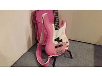 Gypsy Rose Bass Guitar - Pink - COLLECTION ONLY