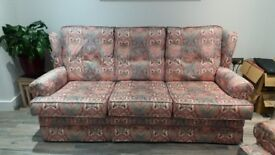 Large sofa with 2 matching arm chairs