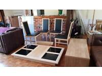 4 seater Wooden dining table and leatherette chairs
