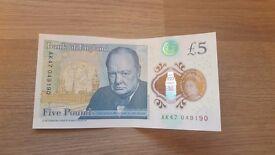 New £5 note, AK47 049190