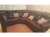 Brown Leather 7 Seater Corner Sofa