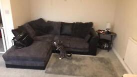 Grey and black corner sofa