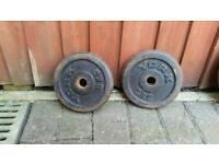 2 x 5kg caste iron weight plates