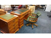 Beautiful Yew and Leather Office Furniture For Sale.