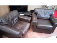 2 x Ikea Leather armchairs. FREE.