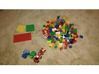 Duplo Lego building bricks, 4 base plates and cars