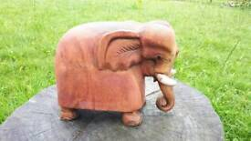"""HAND CARVED WOODEN ELEPHANT 8"""" TALL"""