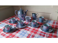Art Deco Blue Lustre Coffee Set