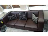Brown faux leather settee/ sofa