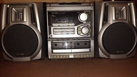 Aiwa stereo system , unit + 2 speakers + remote ( universal ) , cheap