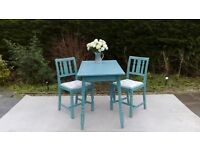 Small Kitchen/Dining Table & 2 Chairs. Shabby Chic, Teal.