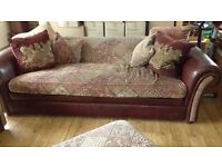 2x Leather/fabric sofas and Puffet.