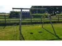 Children's garden swing-set with standard swing, monkey swing and rope ladder