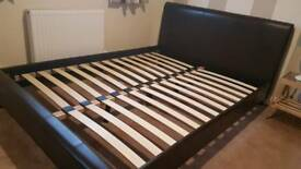 Bed Frame KING SIZE Faux Brown Leather
