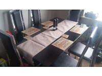 Black & chrome glass dining table 6 leather high back chairs