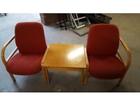OFFICE RECEPTION CHAIRS AND COFFEE TABLE