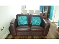 2 and 3 seater brown leather suite