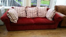 **FREE ** Red 3 Seater Sofa