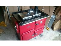 Rayburn oil 360K for spares or repair with flue and cowling.