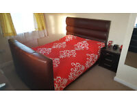 Brown Leather TV Bed - Kingsize.