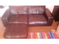 """MUST GO ASAP! DFS model """" Zennah """" 3Seater Sofa / Armchair + Pouffe chocolate brown, leather"""