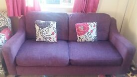 3 seater sofa, 2 arm chairs and 4 cushions