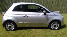 Fiat 500 Lounge 1.4 16V Petrol in silver with only 34,000 miles