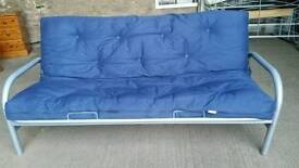 Metal and Blue Fabric Futon