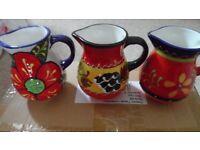 job lot of spanish hand painted mini jugs