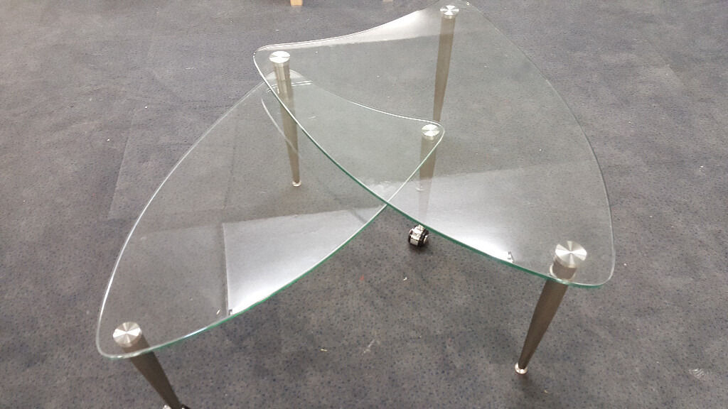 Glass coffee table 2 tier