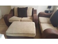 SCS X2 TWO SEATER SOFAS AND MATCHING POOF