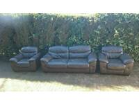 Leather sofas and 2 chair's dark brown vgc