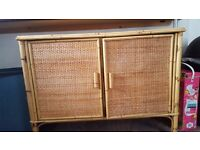 Wicker and cane cupboard, shelf unit, dresser, sideboard