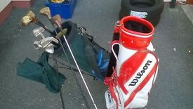 Various selection of golf cubs inc woods, putter, etc also 2x bags