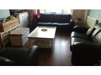 Brown Leather sofas (3, 2 seater & arm chair) - Glos