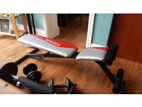 Home Gym equipment - York bench, Dumbbells, Barbell