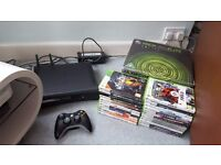 Xbox 360 Elite - 28 games, controller, wireless adapter, accessories, boxed