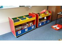 Multicoloured bookcases perfect for a playroom/preschool or school