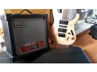 Ibanez s771pb natural flat burr , roland cube hard case +