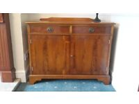 Yew Finished Sideboard with Two Side Drawers