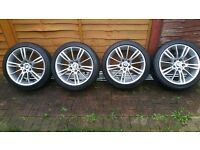 BMW MV3 alloy wheels with nearly new tyres
