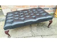 Chesterfield black leather OVERSIZED footstool. AS NEW CONDITION! BARGAIN!