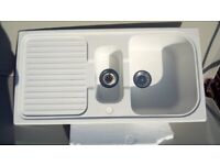 Left-hand one and one half bowel white composite kitchen sink and drainer bowl