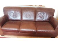 Leather 3 seater settees
